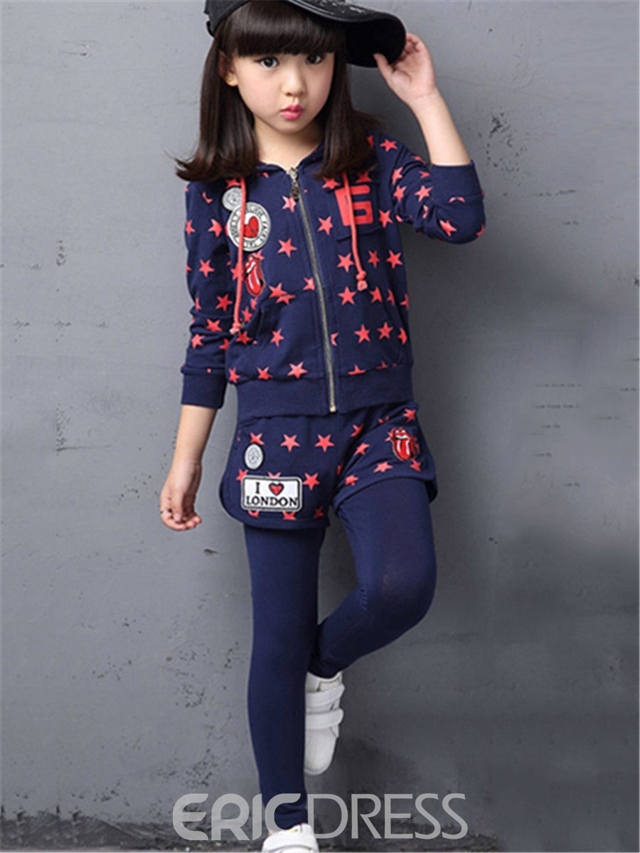 Ericdress Star Print Girls Outfit