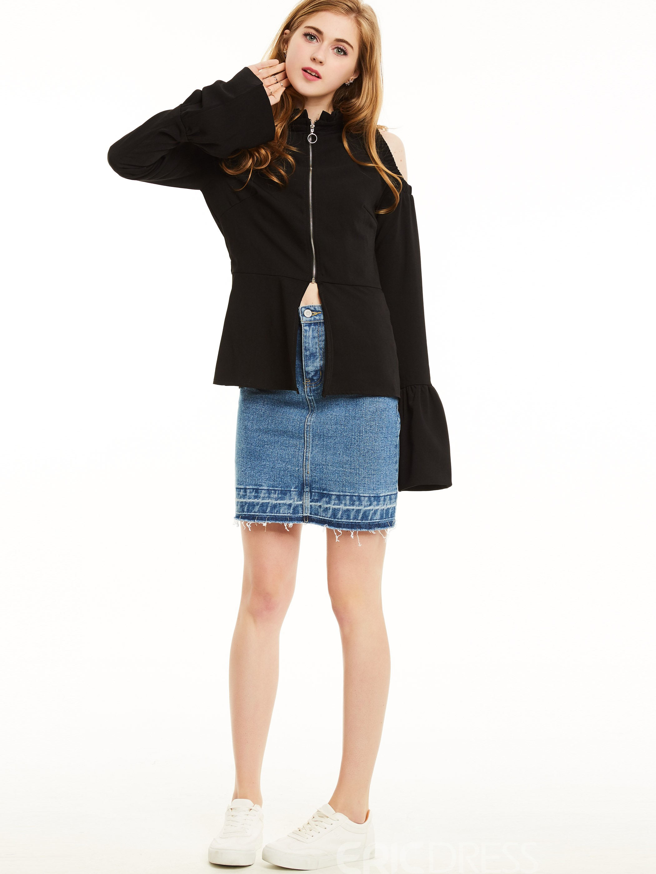 Ericdress Off Shoulder Slim Trumpet Jacket