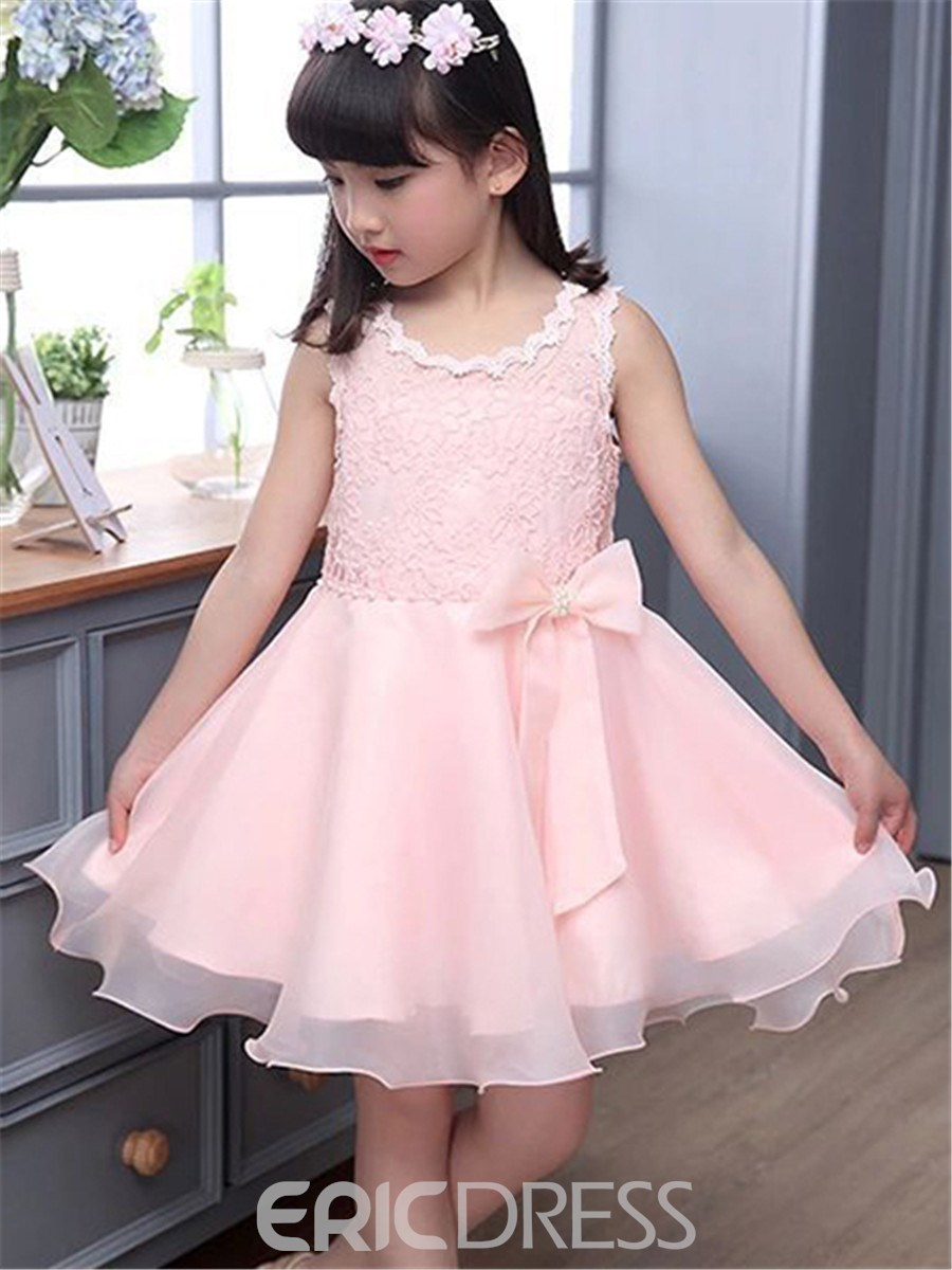 Ericdress Sleeveless Lace Mesh Girls Dress