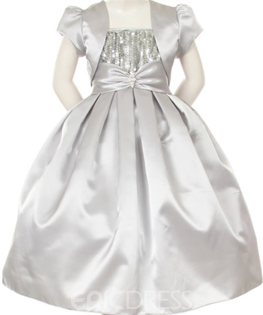 Amazing Ball Gown Floor-length Sequins & Bowknot Flower Girl Dress With Jacket/Shawl