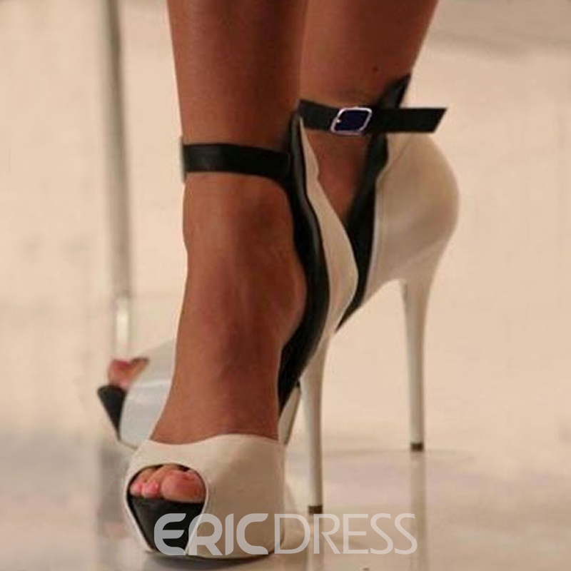 Ericdress Chic Nude Elegant Stiletto Heel Peep Toe Sandals