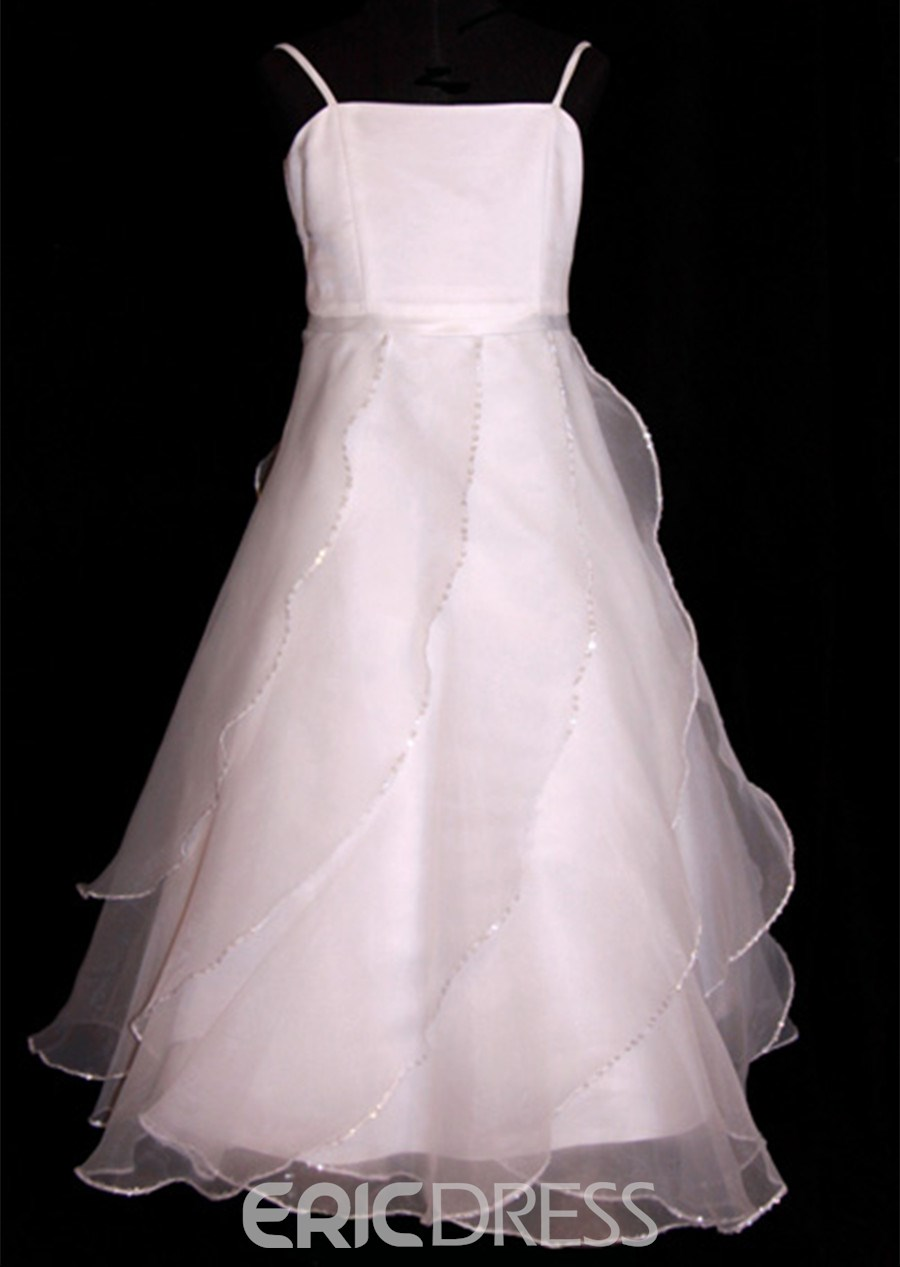 Pretty A-line Spaghetti Straps Floor-length Ruffling Flower Girl Dress