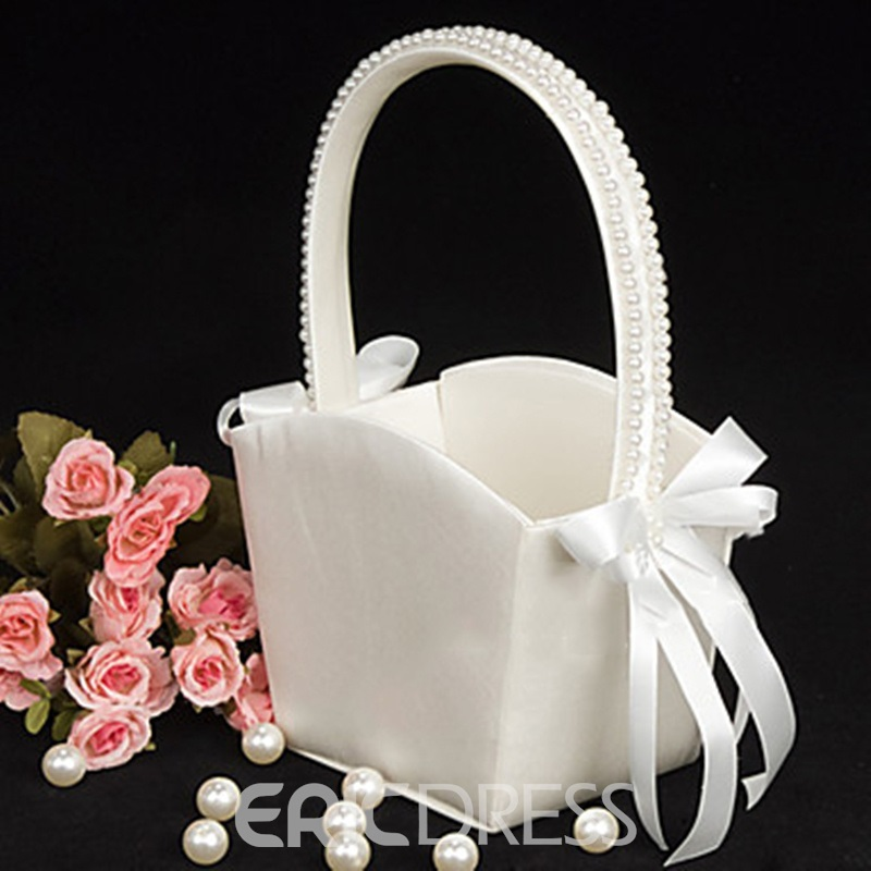Flower Basket With Bow/Faux Pearl