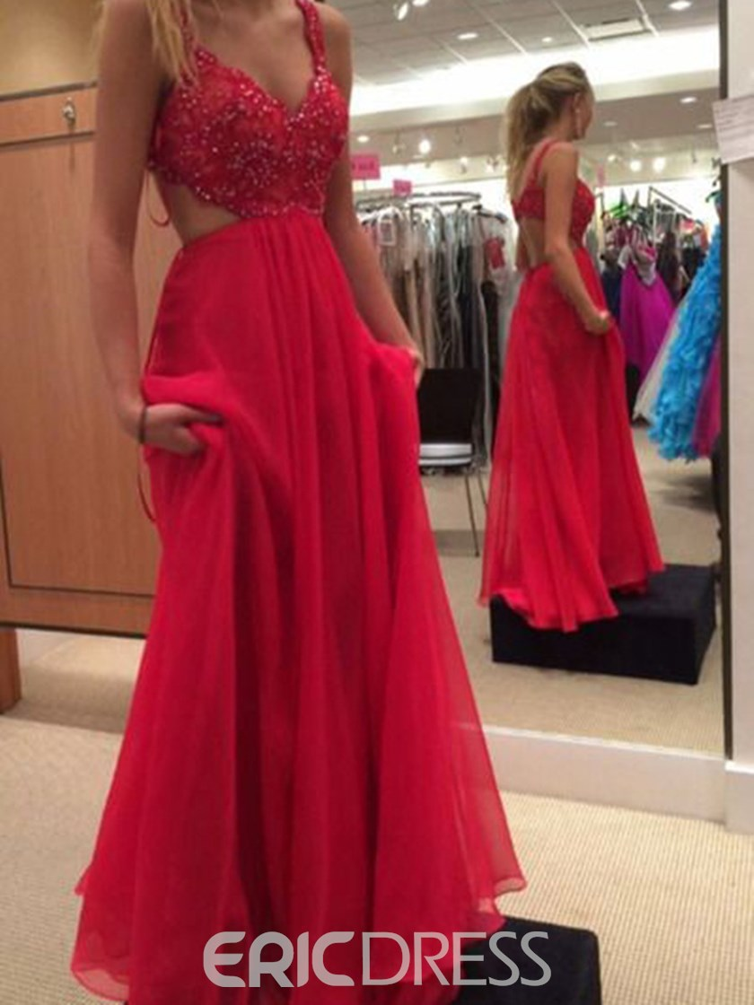 Ericdress A-Line Straps Hollow Floor-Length Prom Dress With Appliques And Beading