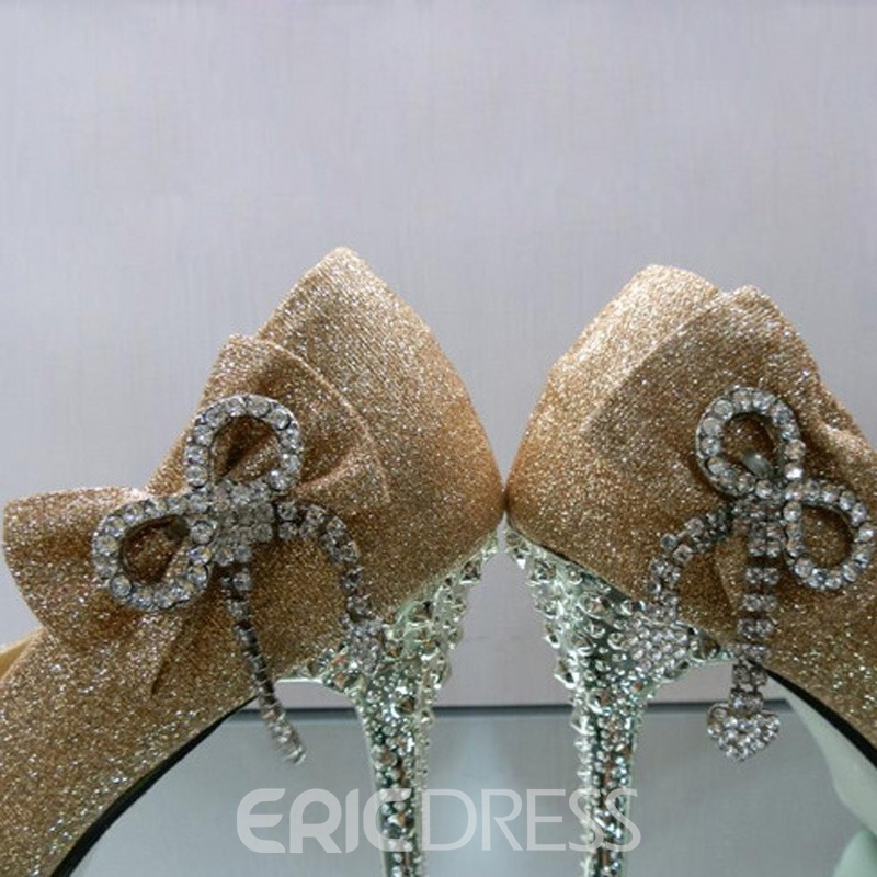 PU Upper Stiletto Heels Closed-toes Wedding Bridal Shoes