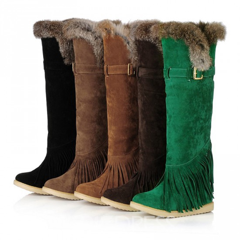 Unique Tassels Suede Knee High Boots