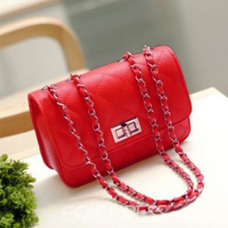 Ericdress Solid Color Grained Shoulder Bag