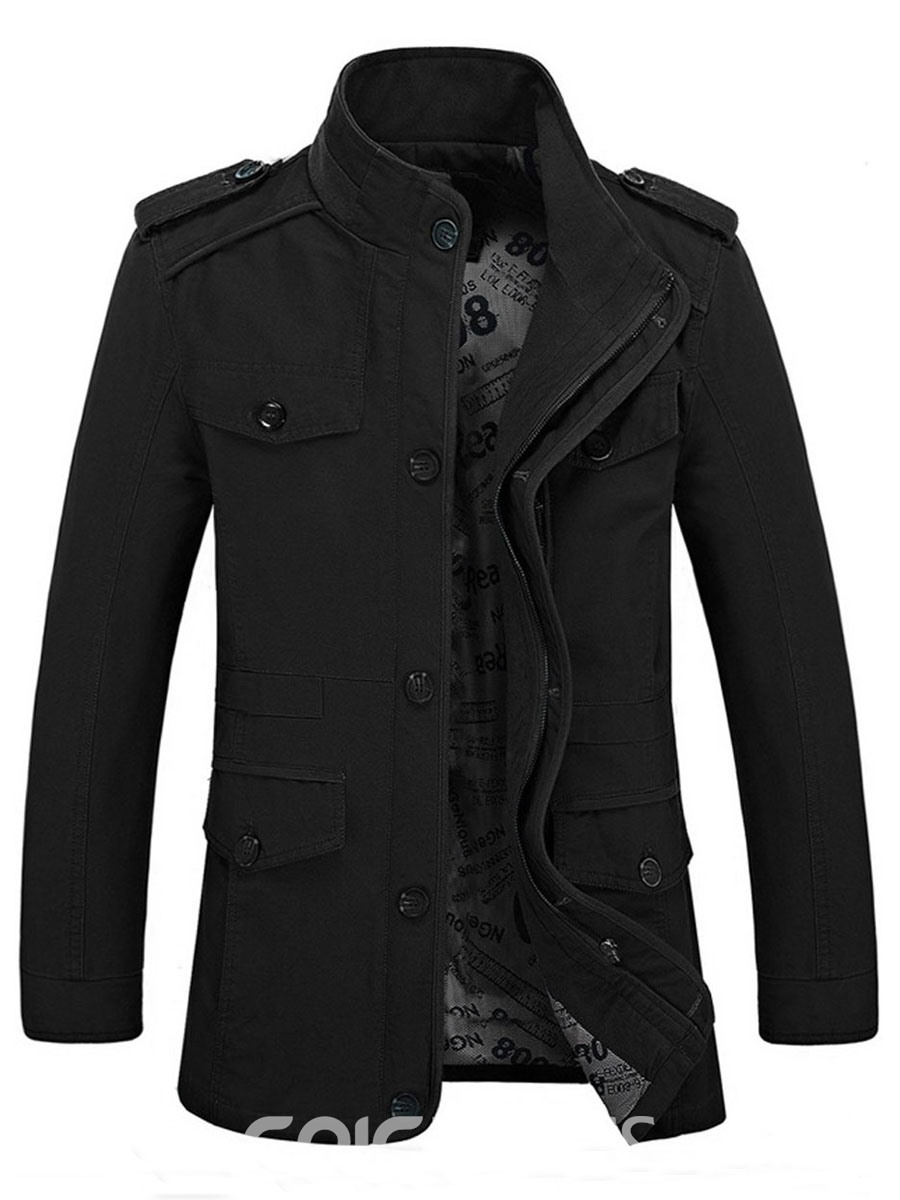 Ericdress Solid Color Button Decorated Stand Collar Men's Coat