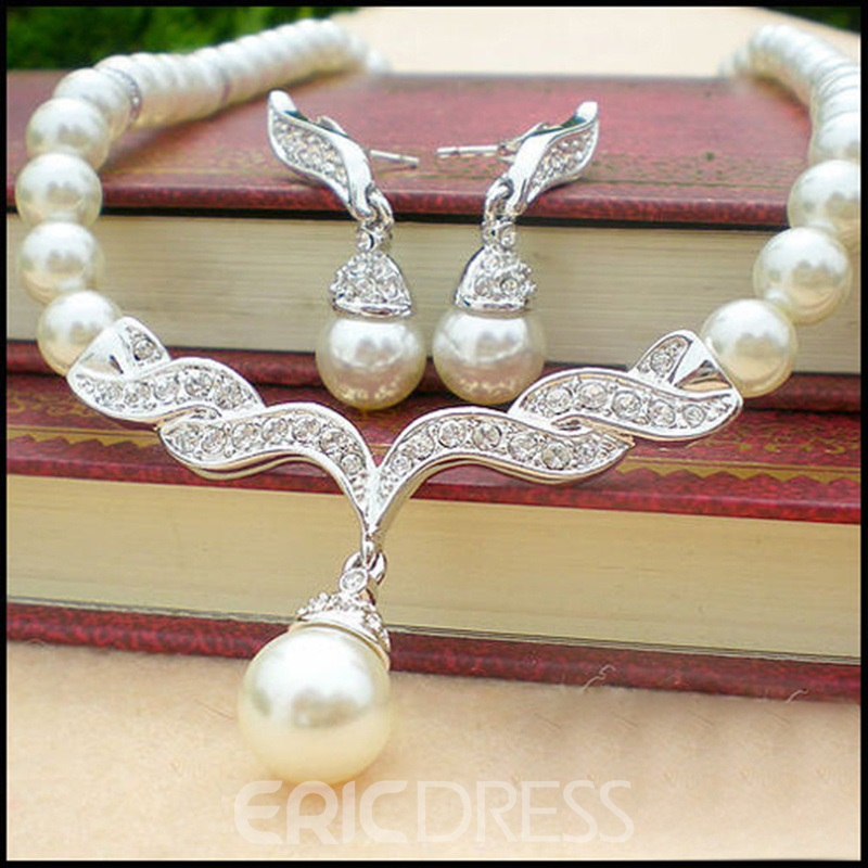 Graceful Pearl Wedding Bridal Jewelry Set with Alloy Connector