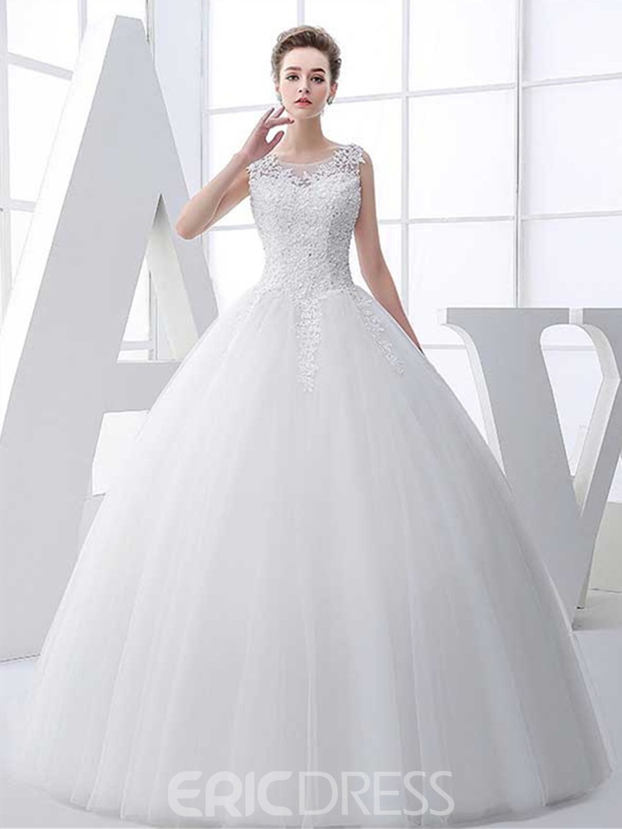 Ericdress Beautiful Appliques Scoop Ball Gown Wedding Dress