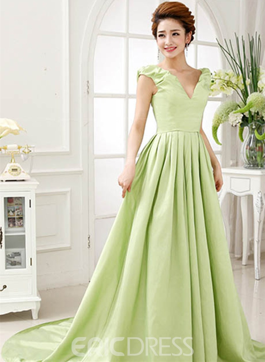 A-Line V-Neck Floor Length Bridesmaid Dress