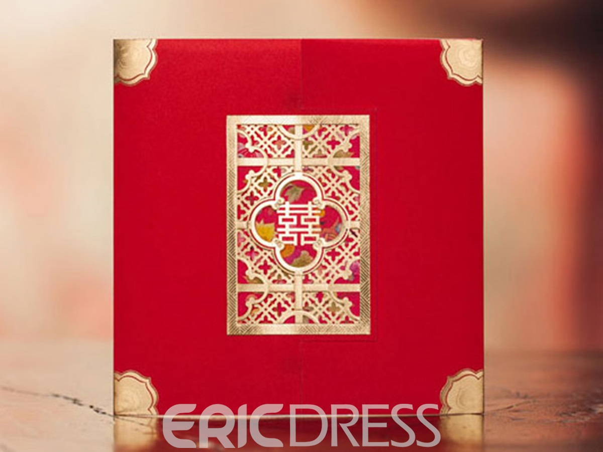 Wrap & Pocket Red Invitation Cards (20 Pieces One Set)