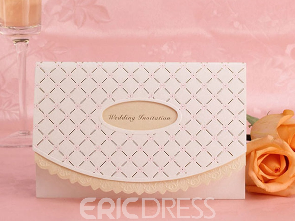 White Concise Hollow Out Wedding Invitation (20 Pieces One Set)