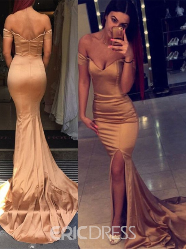 Ericdress Off-the-Shoulder Split-Front Mermaid Evening Dress With Court Train