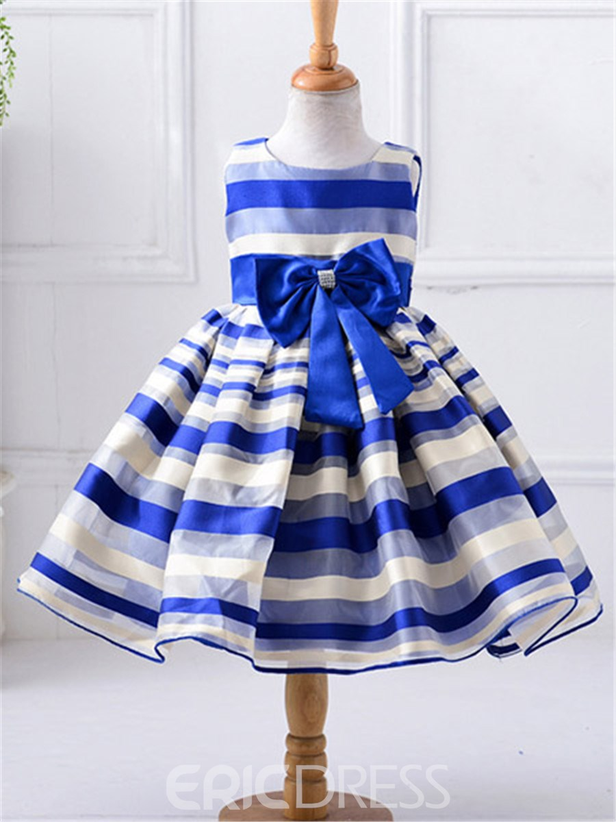 Ericdress Stripe Pleated Girls Dress