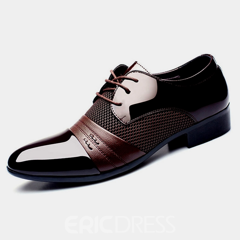 Ericdress Patent Leather Mesh Patchwork Point Toe Men's Oxfords