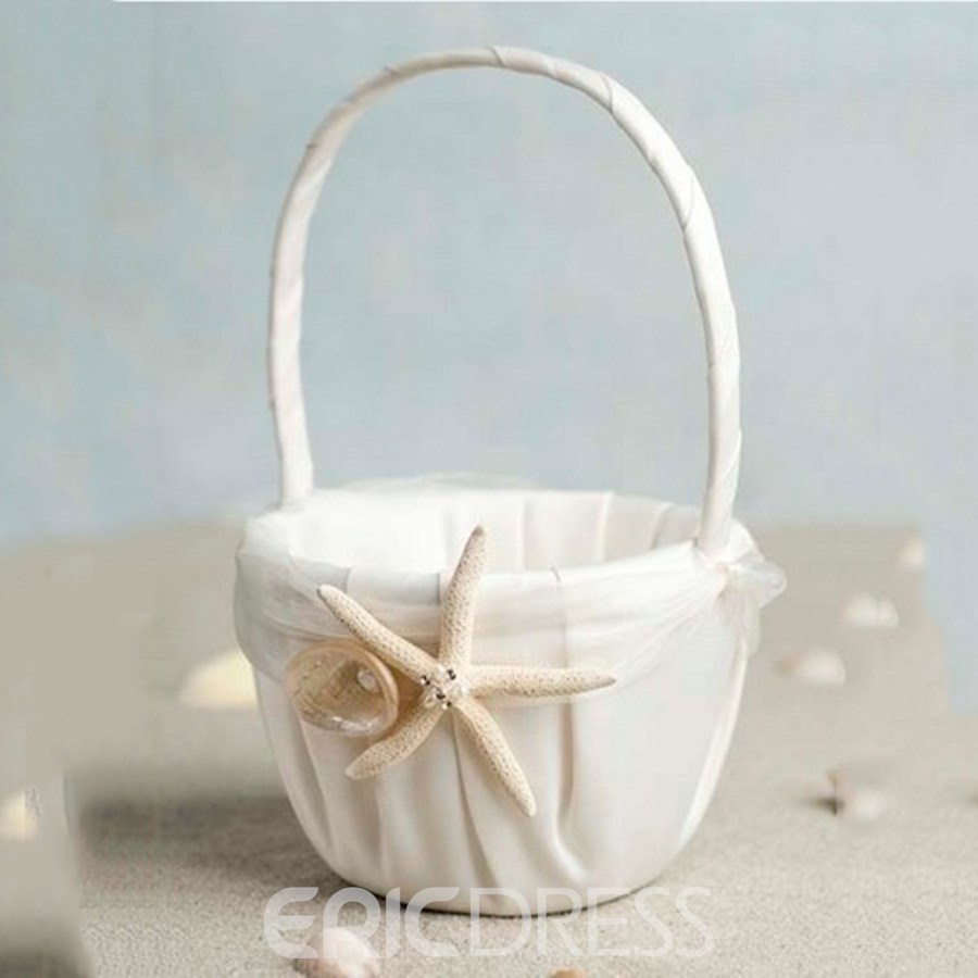 Beach Themed Starfish Ivory Satin Flower Girl Basket