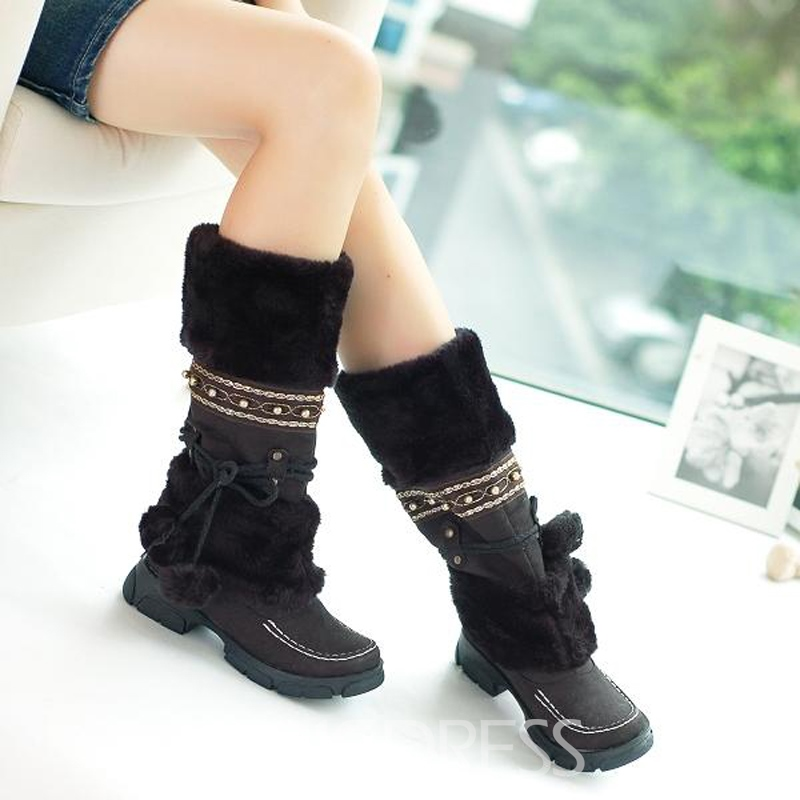 Retro Flat Snow Boots with Tassels