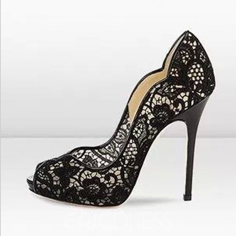 d06ddfe379a4 Sexy Black Lace Upper Stiletto Heels Peep-toe Women Prom Shoes