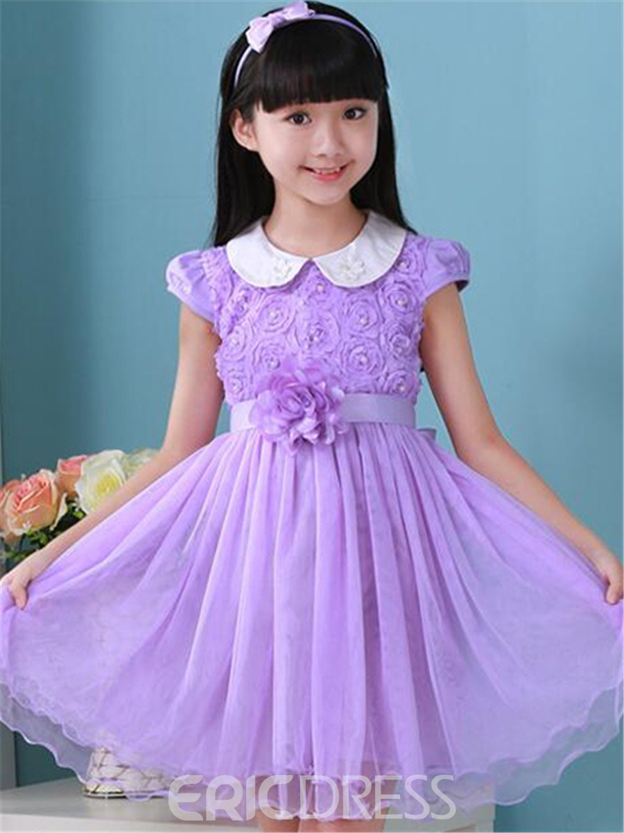 Ericdress Short Sleeve Pleated Girls Dress