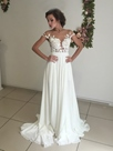 Ericdress Illusion Neck Mesh Lace Chiffon High Split Wedding Dress