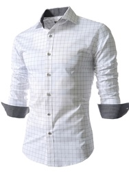 Lapel Plaid Single-Breasted Long Sleeve Shirt
