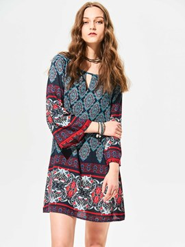 Ericdress Vintage Geometric Bell Sleeve Casual Dress