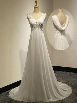 Ericdress Casual V-Neck Beading Appliques A-Line Chiffon Wedding Dress