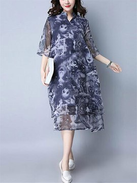 Ericdress Vogue Print 3/4 Length Sleeves Summer Casual Dress