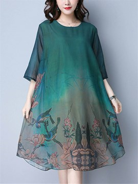 Ericdress Vintage Print 3/4 Length Sleeves Casual Dress