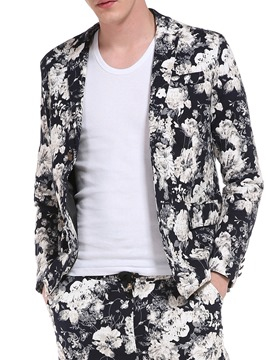 Ericdress Notched Lapel Floral Print Vogue Slim Men's Blazer