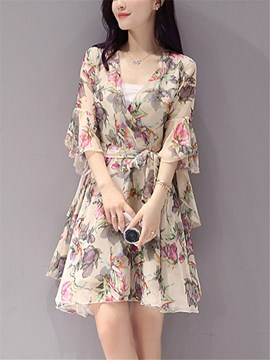 Ericdress Floral Print V-Neck 3/4 Length Ruffle Sleeve A Line Dress