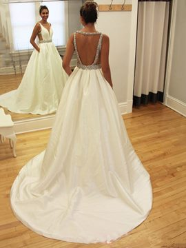 Ericdress Backless A-Line Matte Satin Wedding Dress