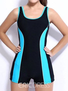 Ericdress Sports U-Neck Color Block One Piece Swimwear