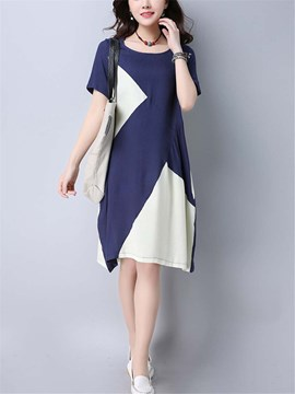 Ericdress Patchwork Color Block Short Sleeves Casual Dress