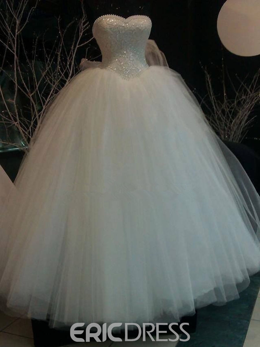Ericdress Luxury Beading Pearls Sweetheart Ball Gown Wedding Dress