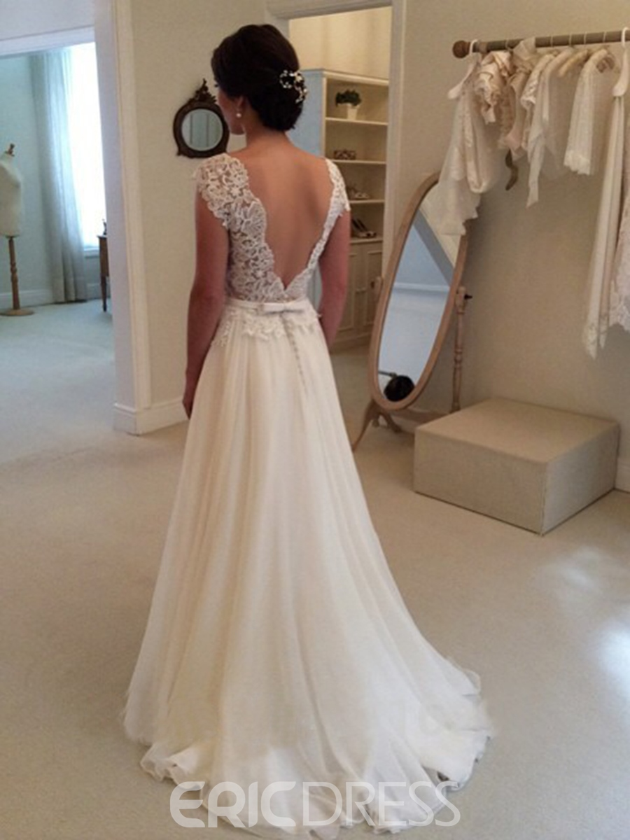 Ericdress Charming Backless Jewel Lace A-Line Wedding Dress
