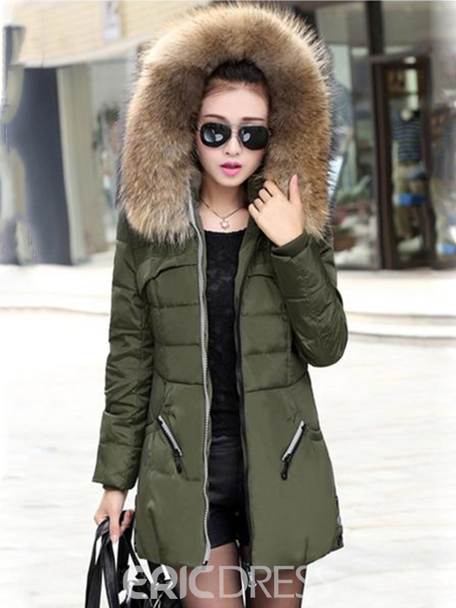 Ericdress Casual Hooded Thicken Overcoat