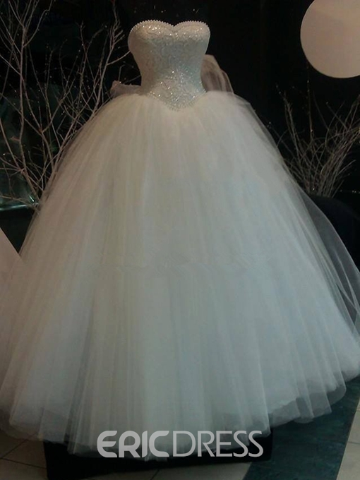 Ericdress Pearls Sweetheart Lace Ball Gown Wedding Dress
