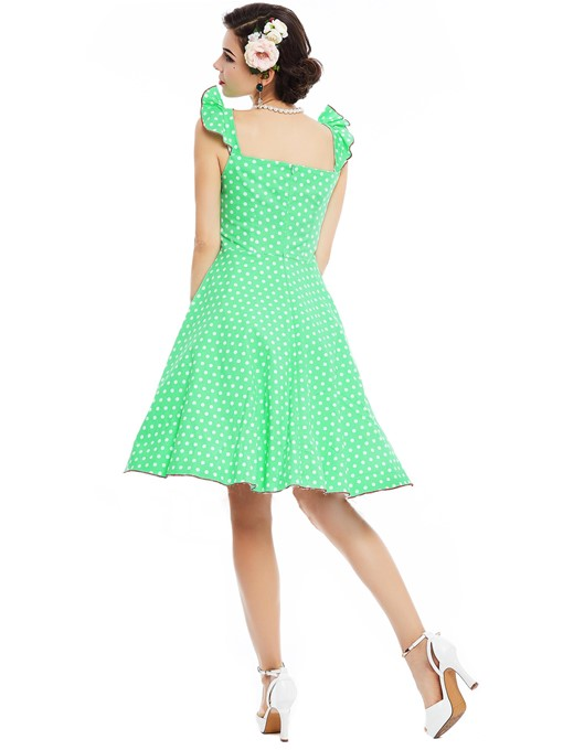 Ericdress Polka Dots Button Pleated A Line Dress