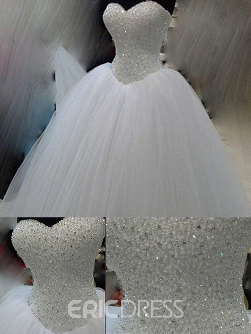 Ericdress Gorgrous Strapless Sweetheart Beading Wedding Dress