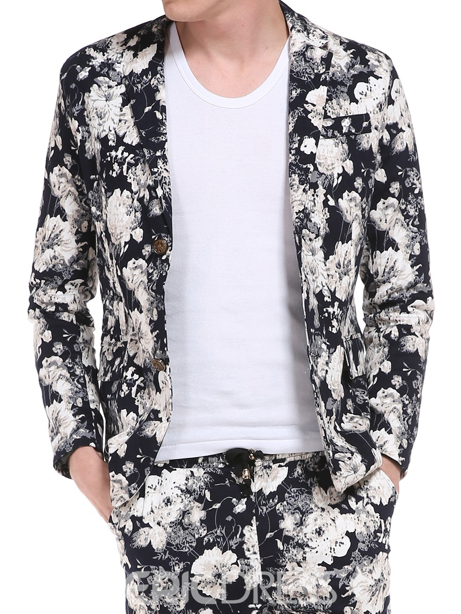 Ericdress Notched Lapel Floral Print Vogue Slim Men's Jacket