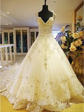 Ericdress Beading Ball Gown Wedding Dress with Cathedral Train