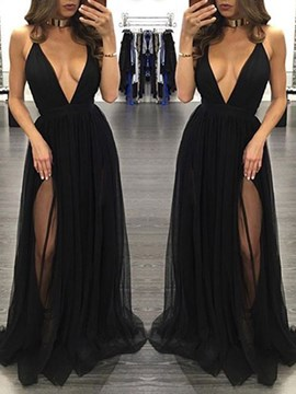 Ericdress Sexy Deep V-Neck Split-Front Long Evening Dress