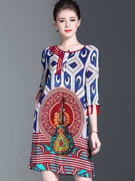 Ericdress Ethnic Print 3/4 Length Sleeves Pocket Casual Dress