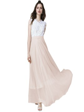 Ericdress Lace Mesh Patchwork Expansion Maxi Dress