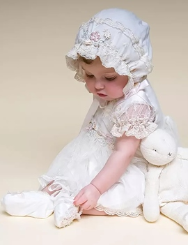 Ericdress Infant Baby Girls Bonnet Christening Gown for Baptism
