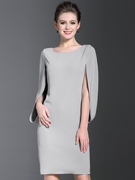 Ericdress Lantern Sleeve Round Collar Solid Color Sheath Dress
