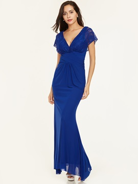 Ericdress v neck zipper-up dentelle plis robe de soirée