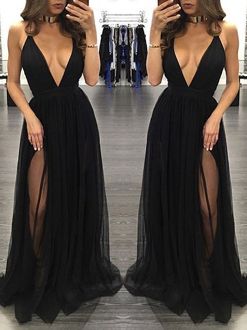 Ericdress Sexy Split-Front V Neck Black Prom Dress